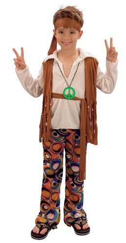 [60s 70s Hippy Boy Childs Fancy Dress Costume - M 134cms] (2 Year Old Costumes Uk)