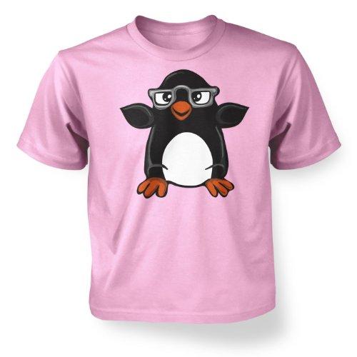 ' Penguin With Glasses Kids T-shirt - Light Pink 9-11 - Glasses Big Dorky