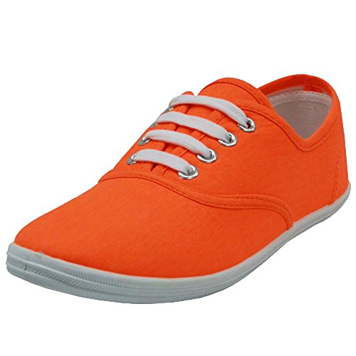 Shoes Sneakers Orange White - Shoes 18 Womens Canvas Shoes Lace up Sneakers 18 Colors Available (6 Neon Orange 324)