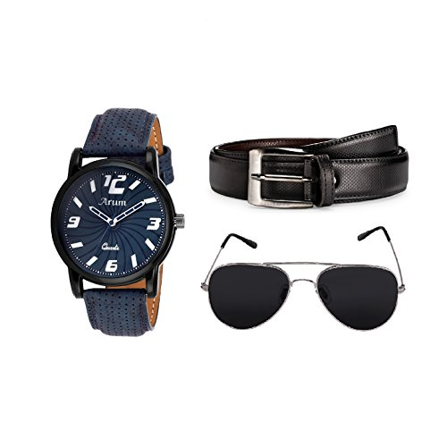 Arum Analogue Watch Men Accessories Combo   Men's Black Belt with Analogue Watch & Sumglass - Combo Pack (B07D6NYVHG) Amazon Price History, Amazon Price Tracker