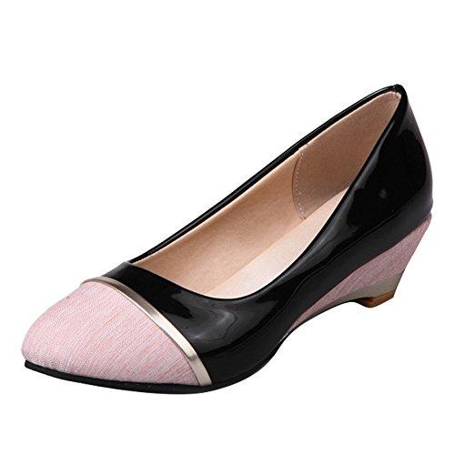 Carolbar Women's Contrast-stitching Stylish Mid Heel Wedge Court Shoes Pink