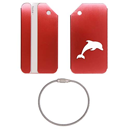 Briefcase Dolphin - DOLPHIN SILHOUETTE STAINLESS STEEL - ENGRAVED LUGGAGE TAG - SET OF 2 (SCARLET RED) - FOR ANY TYPE OF LUGGAGE, SUITCASES, GYM BAGS, BRIEFCASES, GOLF BAGS