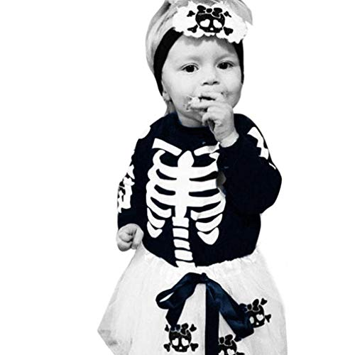 NXDA Halloween Outfits Set Newborn Toddler Baby GirlsAppliques Skull Skirt Leggings (0-6 Months) -