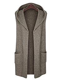 CLJJ7 Women's Open Front Mid-long Hooded Knit Cardigan Sweater Vest