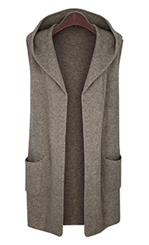 Chunky Cotton Cardigan - CLJJ7 Women's Open Front Mid-long Hooded Knit Cardigan Sweater Vest (Medium, Khaki)
