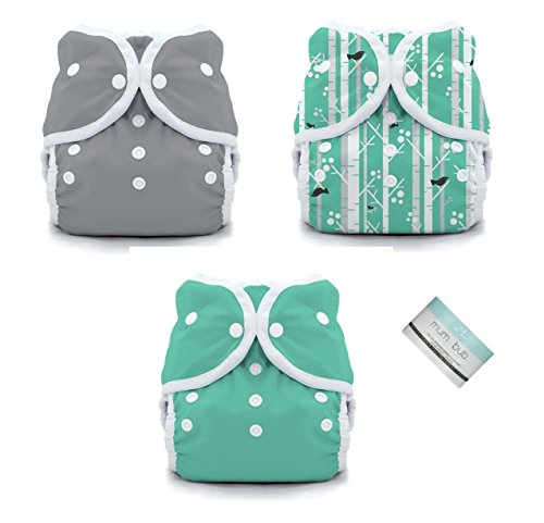 Thirsties Duo Wrap Snaps Diaper Covers 3 pack Combo: Fin, Moss Green, Aspen Grove Sz 2 (8045 Snap)