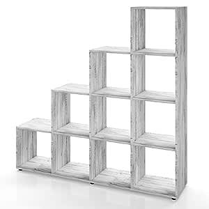 Vicco - Estantería para escaleras (10 Compartimentos, hormigón)