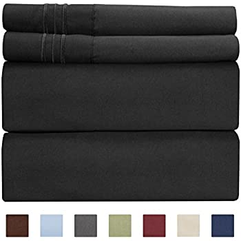 Full Size Sheet Set - 4 Piece Set - Hotel Luxury Bed Sheets - Extra Soft - Deep Pockets - Easy Fit - Breathable & Cooling Sheets - Wrinkle Free - Comfy - Black Bed Sheets - Fulls Sheets - 4 PC