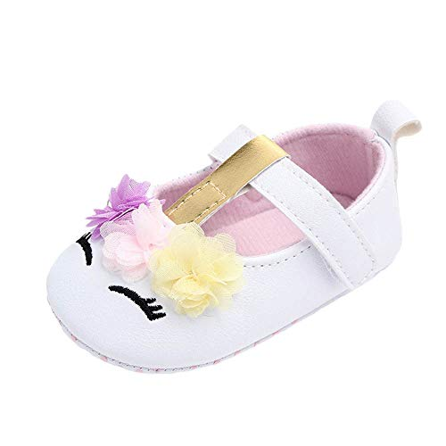 LNGRY Baby Shoes,Toddler Infant Kids Girls Cute Eyelash Chiffon Flower Soft Sole First Walker Crib Shoes (12-15 Months, White)