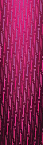 (Magenta Decor 3D Decorative Film Privacy Window Film No Glue,Frosted Film Decorative,Abstract Stripe Psychedelic Motif Fashion Gradient Retro Structured Grid Art,for Home&Office,23.6x59Inch Taffy Roug)