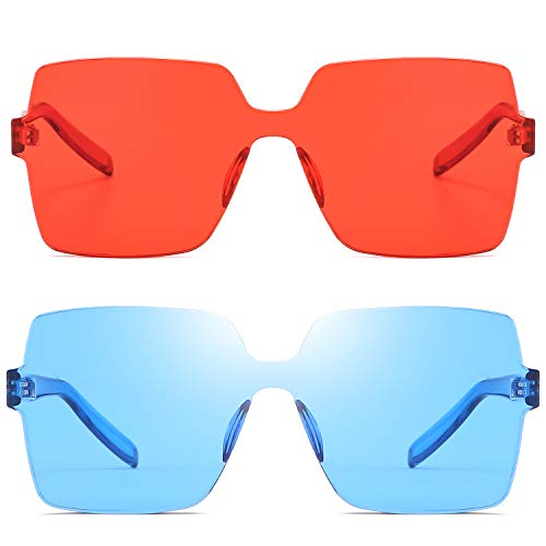 Oversized Square Candy Colors Transparent Lens Rimless Frame Unisex Sunglasses - Red Sunglasses Mens