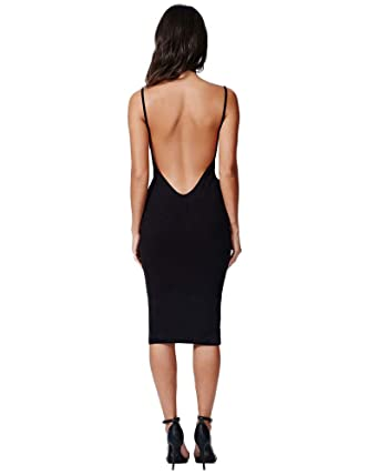 76c8f08325c1 Moxeay Womens Sexy Backless Halter Strap Club Bodycon Dress(S, Black)