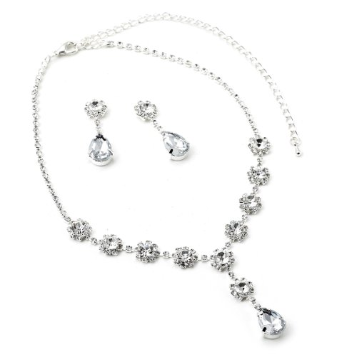 Silver Crystal Rhinestone Bridal Wedding Party Teardrop Shaped Dangle Earrings & Flower Shaped Tie Y Type Necklace Jewelry Set