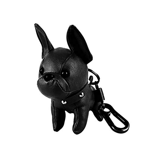- Poppow Handmade French Bulldog Keychain, Cute Leather Car Key Rings Pendant Gift Purse Handbag Backpack Charm Accessories (Black)