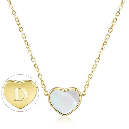 CIUNOFOR Initial Heart Necklace Gold Plated Shell Dainty Necklace Engraved Letter D Necklace with Adjustable Chain Necklace for Women Girls