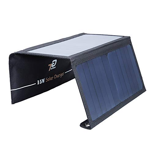 TuffGear 15W Dual USB Solar Charger, Portable Highly Efficient Foldable and Waterproof Solar Panel for iPhone X/8/7/6s/Plus, iPad, iPods, Samsung, Android Smart Phones, Tablets, USB Devices and More