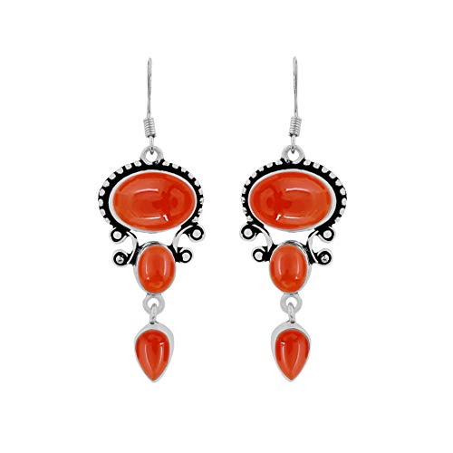 Natural Carnelian Earrings 925 Silver Overlay handmade Dangle Earrings for women