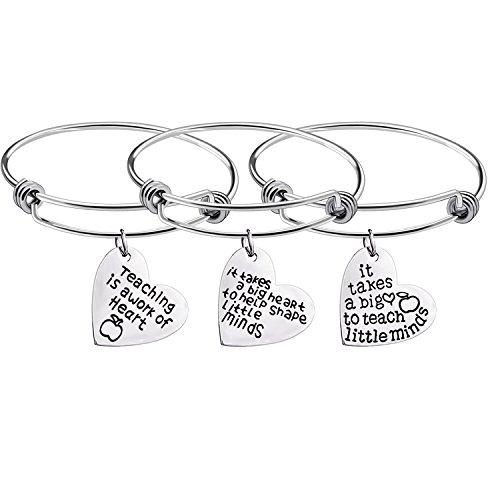 Bangle Gift - Hongyu8 3Pcs Teacher Appreciation Gifts Silver Adjustable Cuff Bracelet Bangle Gift for Teachers day (heart shape)