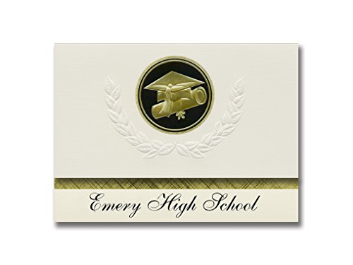 Emery Cap - Signature Announcements Emery High School (Castle Dale, UT) Graduation Announcements, Presidential style, Elite package of 25 Cap & Diploma Seal Black & Gold
