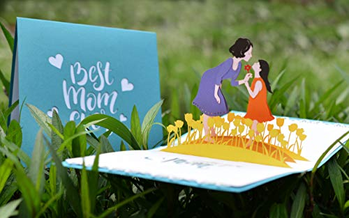 CUTPOPUP's Best Mom Ever with Daughter 3D Pop-up Greeting Card - Paper Art & Handicraft, Lovely Design, Such a Happy Image That Suitable for Birthday, Celebration, Thank you Card, Especially for Mothe