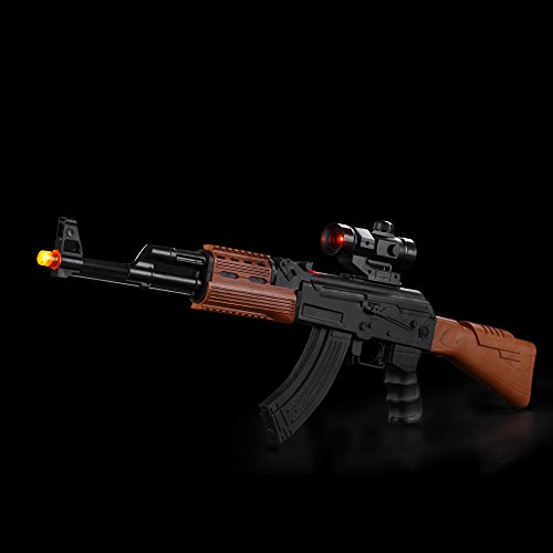 Fun Central AU040, 1 Pc 33 Inches LED Flashing Light Up AK7744B Rifle with Shooting Sounds, Toy Light Up Gun for Kids, Toy Rifle Gun with Lights for Role Playing Game, Costume Party, Kids Outdoor Game