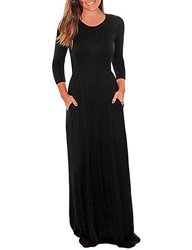 noir L JIALE3536 Robe Femmes élégant Asymétrique Col Rond Manches 3 4