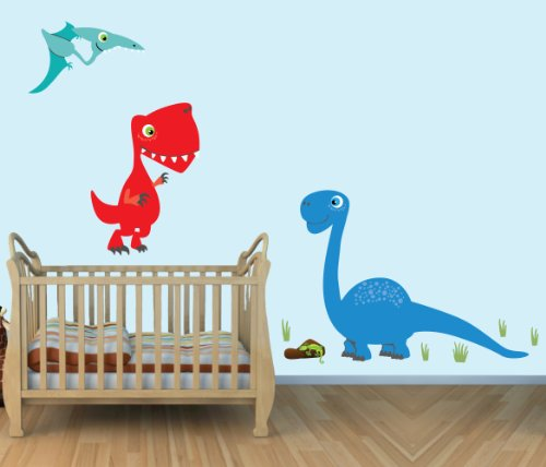 Dinosaur Decals Colorful Fabric Stickers