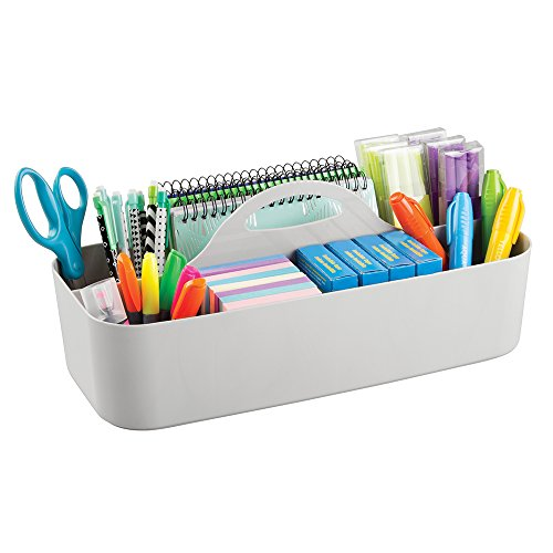 mDesign Office Supplies Desk Organizer Tote for Scissors, Pens, Pencils, Notepads, Markers, Highlighters, Tape - Large, Light (Tot Sink)