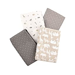 Carter\'s Flannel Receiving Blankets, Taupe Jungle/Grey
