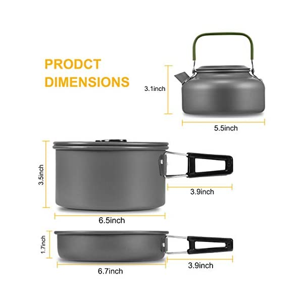 Buycitky Camping Cookware Kit,Camping Accessories Cooking,Lightweight & Nonstick Camping Kettle,Camping Pots,Camping…