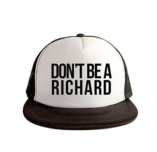 Don't Be A Richard Cool Swag Hip Hop Print 80s Style Snapback Hat Cap White Black