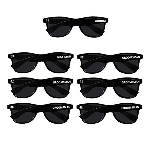 Bachelor Party 7pcs Wayfarer Weddings Gift Sunglasses for Groom, Best man, Groomsman]()