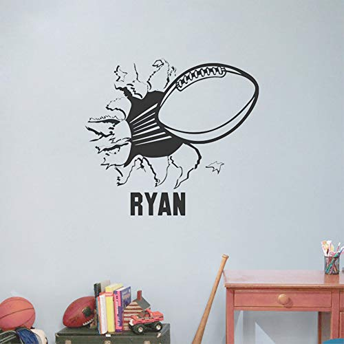 Black Jerseys Static (SHAN'S Wall Decoration Mural Sticker Football Jersey Vinyl Wall Sticker Boy Room Decoration -Black,Use A Custom Name)