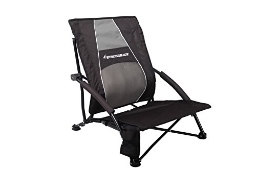 STRONGBACK Low Gravity Beach Chair with Lumbar Support, Black