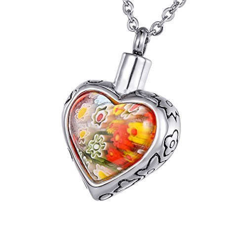 (HOUSWEETY Stainless Steel Murano Glass Flower Love Heart Urn Pendant Memorial Necklace Cremation Jewelry (Non-Engraving))