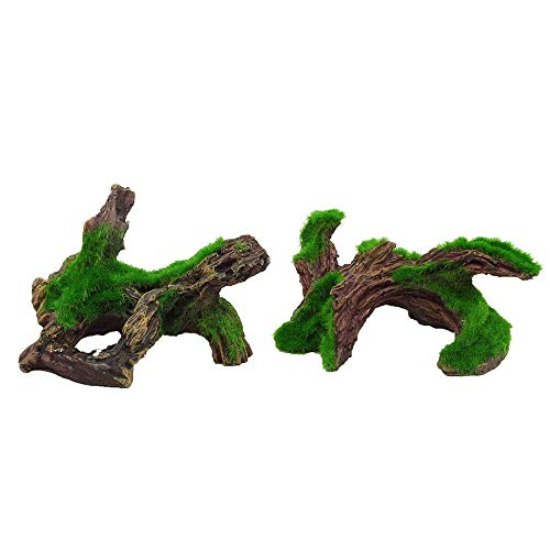 2 Pcs Aquarium Driftwood Natural Artificial Resin Log Tree with Moss Fish Tank Decoration