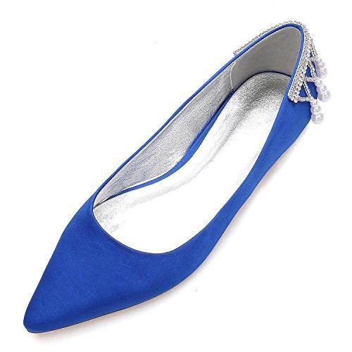Party pour Chaussures Shoes 5047 de Mariage Nuptiale Blue L Femmes Perles YC Sandales Flat 14 Cheville 6qInA