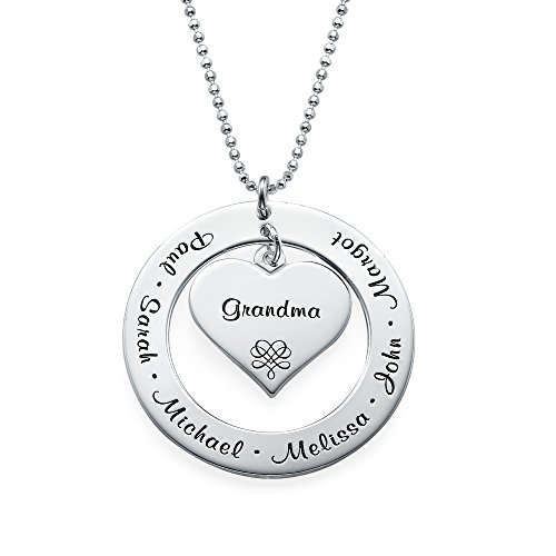 (Grandmother/Mother Necklace - Personalized Sterling Silver Engraving with Names - Gift for Her)