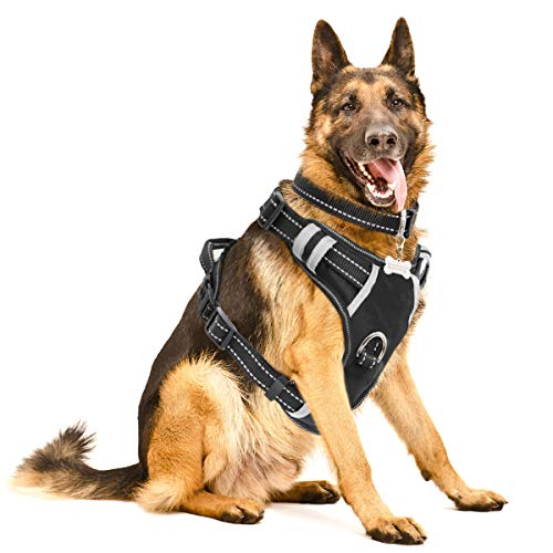 WINSEE Dog Harness, No-Pull Walking Pet Vest Harness with Handle and Front/Back Leash Attachments, Reflective Adjustable Oxford Material Easy Control Harness Black for Extra Large ()