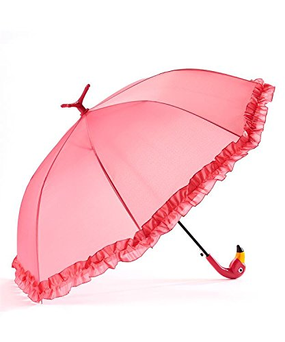 GiftCraft Pink Flamingo Full-Size Standing Parasol Umbrella for Rain of - Parasol Ruffle