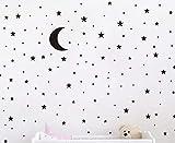 nursery room ideas Moon and Stars Wall Decal Vinyl Sticker For Kids Boy Girls Baby Room Decoration Good Night Nursery Wall Decor Home House Bedroom Design YMX16 (Black)