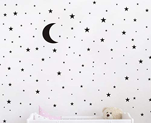 Crescent Decal - Moon and Stars Wall Decal Vinyl Sticker For Kids Boy Girls Baby Room Decoration Good Night Nursery Wall Decor Home House Bedroom Design YMX16 (Black)