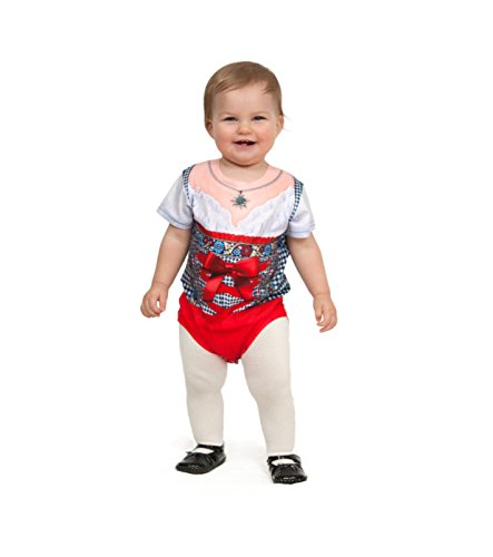 Dirndl Dry Fit 3-D Realistic Baby Bodysuit with Faux Red Checkered Pattern / Essence of Europe Gifts E.H.G (12 Month)