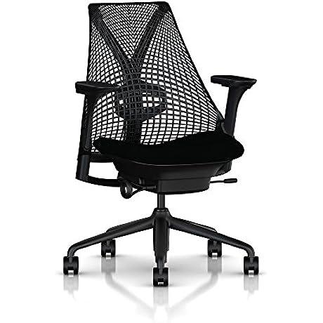 Herman Miller Sayl Task Chair Tilt Limiter Adj Lumbar Support Stationary Seat Depth Fully Adj Arms Standard Carpet Casters Black Base Frame