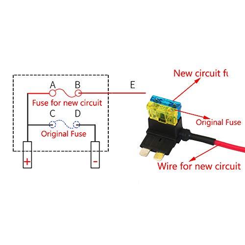 E Support 12V 24V Standard Add A Circuit Fuse Tap Piggy Back Blade Holder Plug Socket Car Pack of 5