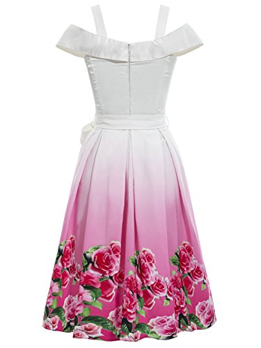 Summer Elegant Slash White Vintage Women's Floral CASF Dress Neck PZBqwx5p