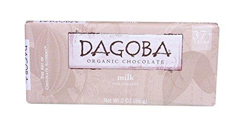 Dagoba Organic Chocolate Bar - Milk Chocolate - 37 Percent Cacao - 2 oz Bars - Case of 12 - 95%+ Organic - Gluten Free - Wheat Free - Kosher (37 Chocolates Percent)