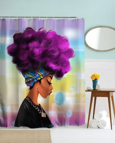 DENGYUE Sexy Sun Tanned Skin Girl Shower, Purple Curling Afro Hair Plaid Hairband Closing Eyes Red Lip Girl Enjoying Her Free Time Dreamy Bulb Blue Romantic Background Waterproof Bathroom Curtain
