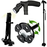 LivingPro All Terrain LED Folding Walking Cane- 6 Ultra Bright Built-In LEDs-Folds in Seconds-5 Adjustable Height Levels