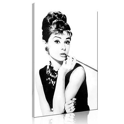 5b75c95b6313 Audrey Hepburn Smoking Picture on Canvas Breakfast at Tiffany s Art Print  Movie Film Glamour Star Decorative